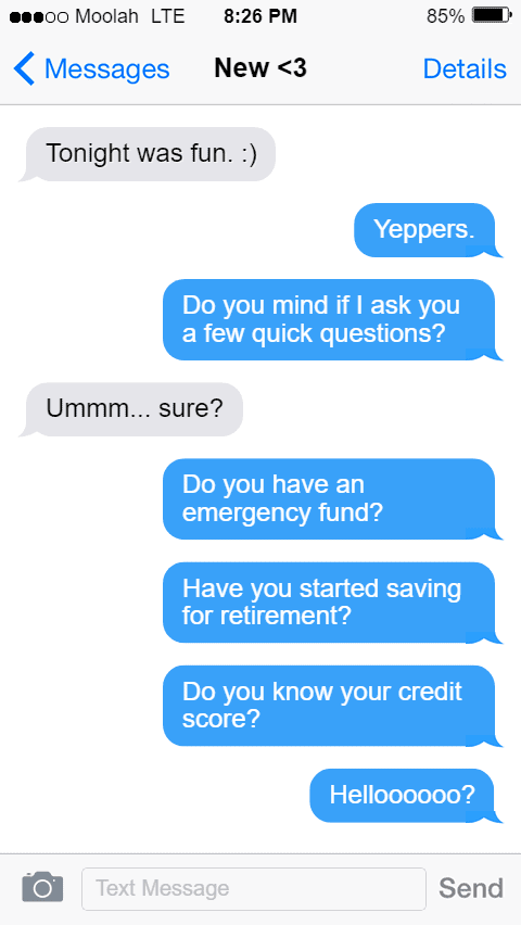 Pestering Date About Finances Text Conversation