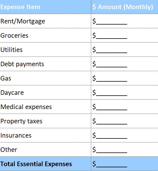 Essential spending budget tab